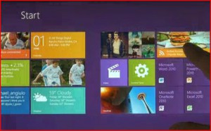 Screen view of Windows 8