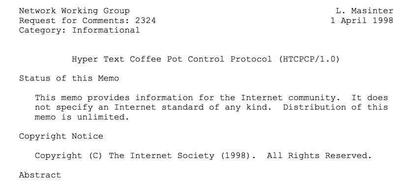 HTTP Error Code 418 I'm a teapot