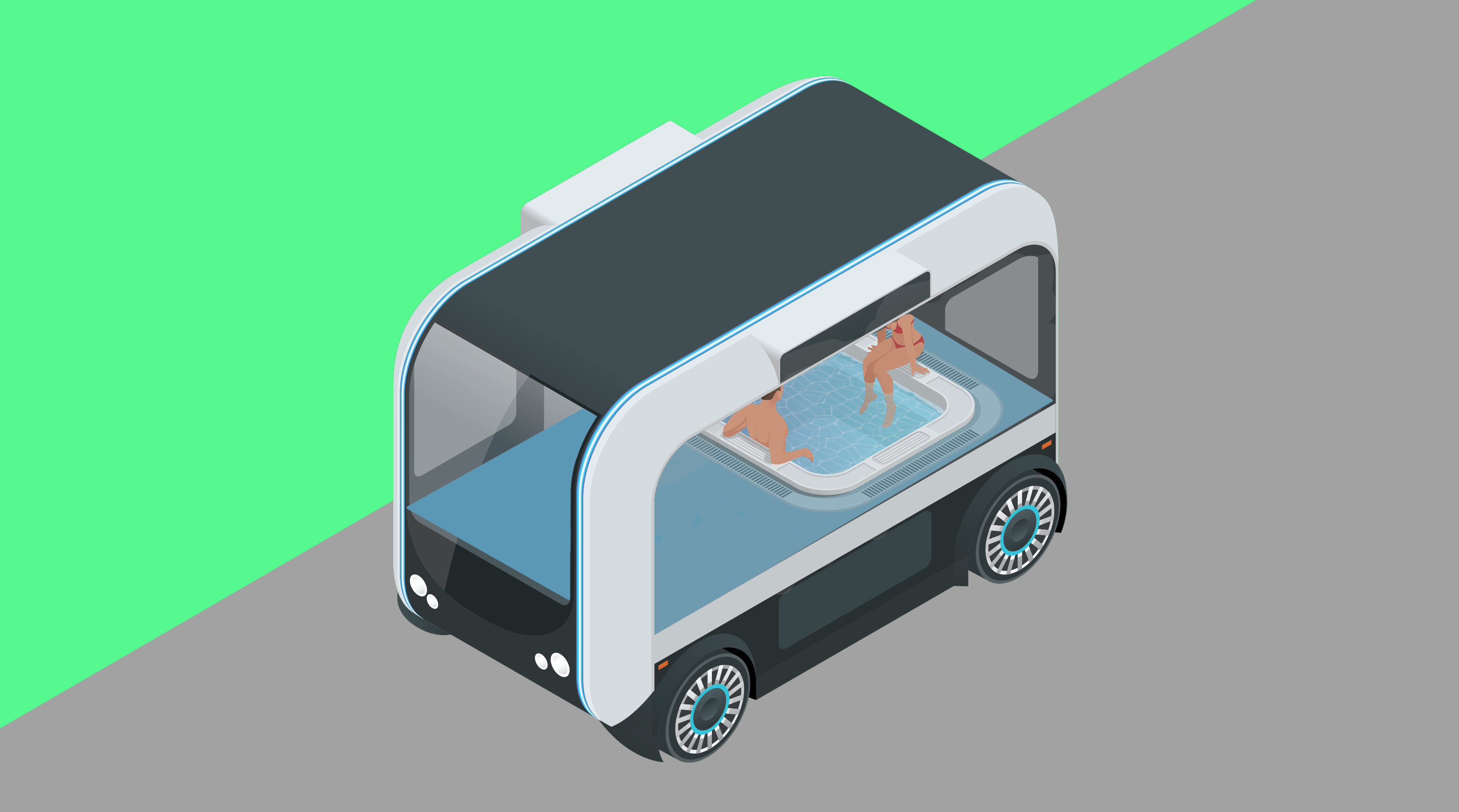 Autonomous vehicle space used for hot tubbing
